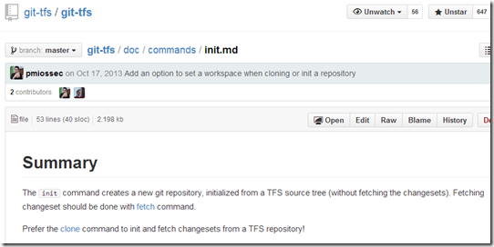 The init command creates a new git repository, initialized from a TFS source tree (without fetching the changesets). Fetching changeset should be done with fetch command. Prefer the clone command to init and fetch changesets from a TFS repository!