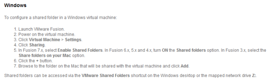 VMWare Fusion Folder Sharing Instructions